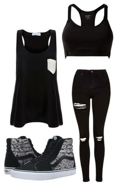 """""""Scarlet #3"""" by kabran ❤ liked on Polyvore featuring Solid & Striped, MANGO, Topshop and Vans"""