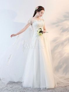 Wedding Dresses Watteau Train Ivory Lace Beaded Tulle Floor Length Bridal  Dress  uniqueweddingideas 5c26dc1b6d01