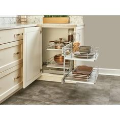 Rev-A-Shelf Gray Series 15 Inch Two Tier Pull Out Corner Base Cabinet Organizer with Four Shelves and Soft-Close Slides Corner Shelves Kitchen, Under Kitchen Sink Organization, Blind Corner Cabinet, Corner Storage, Cabinet Door Storage, Cabinet Doors, Cabinet Organizers, Cabinet Ideas, Kitchen Interior