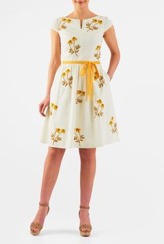 9a9c55e5799165 Floral posy embellished cotton poplin dress. Box Pleat SkirtPleated ...