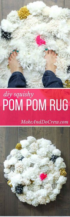 How to make a pom pom rug! This soft, scrumptiously squishy DIY pom pom rug takes very few skills to create and is a great way to use up a bunch of scrap yarn! Perfect for a bedroom, bathroom or baby nursery. Click for full tutorial.   MakeAndDoCrew.com