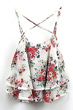 Vintage Flora Print Ruffle Layer Cross Strap Chiffon Camis