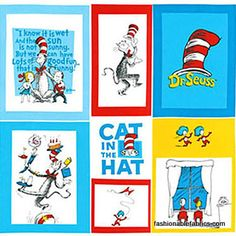 The Cat in the Hat Panel by Dr. Seuss Enterprises for Robert Kaufman Fabrics ADE-10798-203