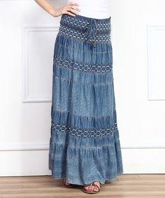 Another great find on #zulily! Blue Shirred Tribal Denim Maxi Skirt #zulilyfinds