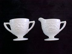 1950's Indiana White Milk Glass Orange Blossom Cream Creamer & Sugar Bowl Set