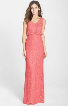 ADRIANNA PAPELL Floral V-Neck Lace Pink Column Gown