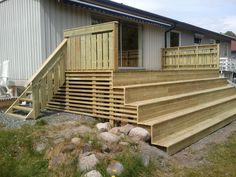 Fjerne rekkverk og lage trapp? Backyard, Patio, Diy And Crafts, Deck, Stairs, Wood, Outdoor Decor, House, Inspiration