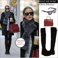 WHAT SHE WORE: Olivia Palermo in fur coat with tall black suede boots and red leather bag in New York on April 7