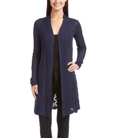 Another great find on #zulily! Heather Navy Mixed-Knit Open Cardigan #zulilyfinds