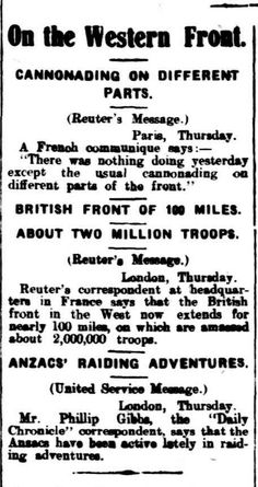 """WWI, 5 Jan 1917:""""British West Front extends for nearly 100 miles"""" - Barrier Miner, Broken Hill"""