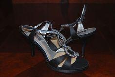 Nina Gelossi Black Satin Rhinestone Dress Heel Strappy Womens Shoes, Size 10 #Nina #OpenToe
