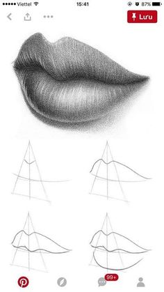 Pin by Sue Schocke on Zeichnen lernen Girl Drawing Sketches, Art Drawings Sketches Simple, Pencil Art Drawings, Realistic Drawings, Drawing Step, Pencil Drawings For Beginners, Mouth Drawing, Drawing Lips, Drawing Techniques