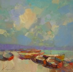 """Fishing Boats, Original oil Painting, Seascape, Handmade artwork by palette knife, One of a kind,. Artist: Vahe Yeremyan Work: Original oil Painting, One of a Kind Medium: Oil on Canvas Year: 2016 Style: Impressionism Subject: Fishing Boats, Size: 14"""" x14"""" x 3/4'' inch Gallery Estimated Value $1,100 Unframed, Stretched on wooden bar, Gallery Wrapped Yeremyan is an Armenian native who now makes his home in California. He is an honorable member of the Artist's Guild of Armenia and an active..."""