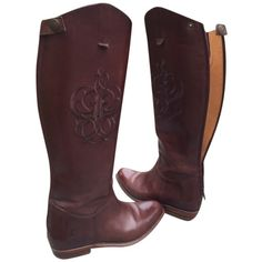 Pre-owned Frye Lindsay Brown Boots ($157) ❤ liked on Polyvore featuring shoes, boots, brown, brown knee high riding boots, zip boots, tall riding boots, zipper boots and equestrian boots
