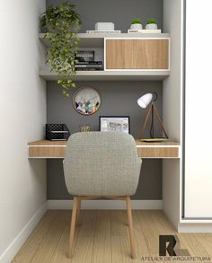 "Como Montar Um Home Office: 5 Dicas Essenciais! Não sabe por onde começar e fica se perguntando como montar um #homeoffice ? Confira essas 5 dicas! Se você gosta de tons mais claros, e um estilo ""Pinterest""... Home Office Decor, Tiny Home Office, Office Home, Decorative Objects, Shades, Bedroom, Tips, Desktop, Style"