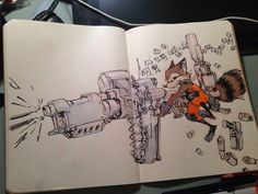 Jake Parker Liked · 13 mins Rocket Raccoon! My take on Skottie Young's version of the character. His comic is pretty amazing. Excited for the movie next week! Cartoon Sketches, Cool Sketches, Character Concept, Concept Art, Character Design, Comic Books Art, Comic Art, Reference Manga, Moleskine