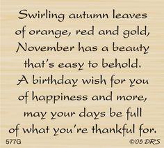 DRS Designs - November Birthday Greeting, $10.00 (http://www.drsdesigns.com/november-birthday-greeting/)