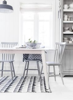 Dining room inspiration. New table with old chairs (painted)