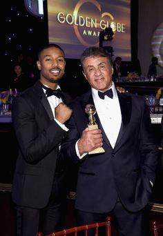 Pin for Later: Les 25 Meilleurs Moments Qui Ont eu Lieu Backstage Lors des Golden Globes Michael B. Jordan et Sylvester Stallone