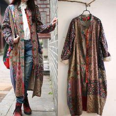 New Cotton Art Linen Folk Women Maxi Long Button Floral Loose Retro Dress Coat