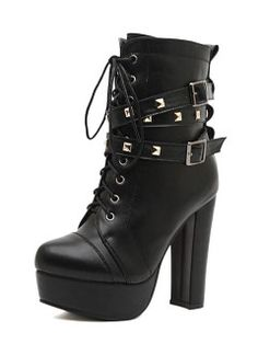 b73f29fb74f9 Shop Black Ankle Boots With Studded Strap from choies.com .Free shipping  Worldwide.