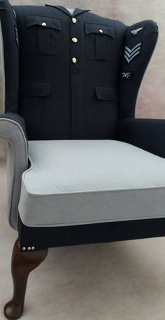 'Bowes Lonsdale Upholstery & Soft Furnishings' have combined a RAF uniform with Dolly plain. What a stunning piece of work! #upholstery #uniform #chair #Dolly