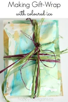 Homemade Gift Wrap for Kids to Make - painting with ice pops - Happy Hooligans