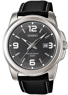 Online Marketing: Casio Men's Black Dial Leather Band Watch - MTP-13...
