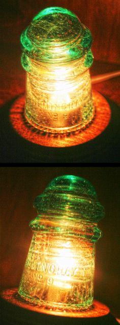 Hemingray No. 9 Insulator Night Light / Desk Lamp, Beautiful Swirls Galaxy Bubbles Aqua with Fizzy & UFO