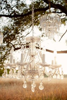 INSPIRATION: Vintage chandeliers  RENTAL ITEM NEEDED: Similar chandeliers available to achieve this look at Family Tree Vintage  www.familytreevintage.wordpress.com   vintage wedding decor - outdoor lighting ideas