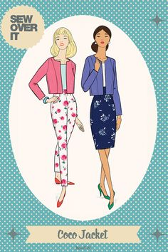 We love this super chic Coco jacket by Sew Over It patterns - a perfect first jacket sewing pattern for intermediate sewers. Sew Over It Patterns, Dress Making Patterns, Sewing Patterns, Fabric Shop, Wool Fabric, Co Ord Suit, Minerva Crafts, Jacket Pattern, Lining Fabric