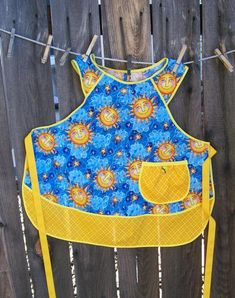 Sunface Child Apron Blue and Yellow Sun Faces Retro Girl | Etsy