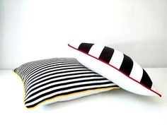 Black and White #Striped Throw #Pillow Cover 16 by CushionsandMore