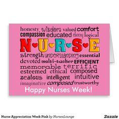 Nurse Appreciation Week Pink Greeting Card