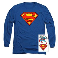 Superman Classic Logo Long Sleeve T Shirt & Stickers Tee Shirt Designs, Branded T Shirts, Superman, Fashion Brands, Graphic Tees, Long Sleeve Tees, Tee Shirts, Hoodies, Logos