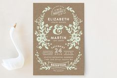 """Ampersand Floral"" - Floral & Botanical, Rustic Wedding Invitation Petite Cards in Mint by Alethea and Ruth."