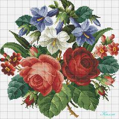 cestino di rose e viole. Cross Stitch Pillow, Cross Stitch Rose, Cross Stitch Flowers, Cross Stitch Charts, Cross Stitch Designs, Cross Stitch Patterns, Cross Stitching, Cross Stitch Embroidery, Embroidery Patterns Free