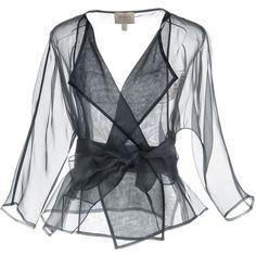 Armani Collezioni Blazer ($690) ❤ liked on Polyvore featuring outerwear, jackets, blazers, dark blue, dark blue blazer, silk jacket, long sleeve blazer, armani collezioni and blazer jacket