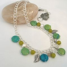 ONE DAY SALE Green Summer Gemstones Charm Necklace £9.95