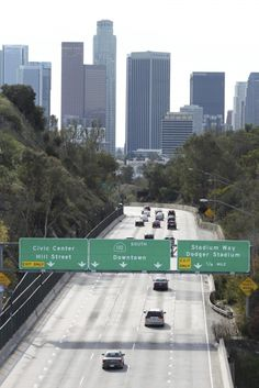 Downtown LA on the 110. Download this royalty-free image on morguefile.com.