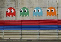 flickr Mosaic Artists: Pac Man ghosts mosaic Graffiti Bilbao
