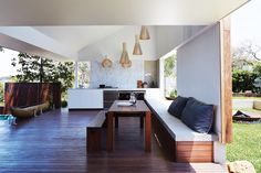 """A new """"deck"""" extension to a nineteenth-century house, by Nielsen Workshop and Morgan Jenkins Architecture channels the elements of earth, air, fire and water. Australian Interior Design, Interior Design Awards, Architecture Awards, Residential Architecture, Workshop Architecture, Amazing Architecture, Living Area, Living Spaces, Brisbane Architects"""