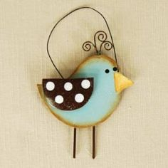 Sweet little bird Bird Crafts, Wooden Crafts, Easter Crafts, Christmas Crafts, Christmas Ornaments, Wood Bird, Metal Birds, Summer Crafts, Crafts For Kids