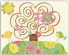 Baby girl room, nursery wall art, nursery Art, Love birds...Floral hill. $17.00, via Etsy.