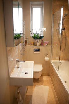 small bathroom layout. Ekaterina's Chic South London Space Apartment Tour | Apartment Therapy