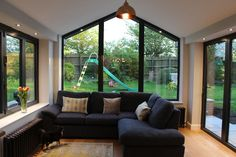 Gable ended conservatory, three sided view of the garden. Four if you count the beautiful oak roof … – Home decoration ideas and garde ideas Conservatory Interiors, Modern Conservatory, Conservatory Kitchen, Conservatory Design, House Extension Plans, House Extension Design, Glass Extension, House Design, Living Room Extension Ideas