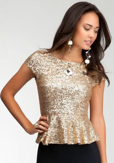 bebe Sequin Peplum Top.  Peplum is super flirty and cute, and sequins are sexy, the perfect mix. I definitely need this top because paired with a skirt or pants this top is sure to sparkle and spice up any oufit.  #bebewishlist