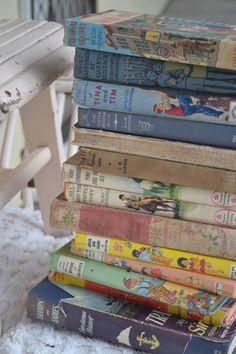 French Blue and Peachy Pink: Vintage Childrens Books