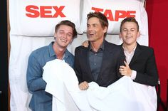 """Actor Rob Lowe and sons Matthew Edward Lowe, left, and John Owen Lowe attend the premiere of """"Sex Tape"""" at Regency Village Theatre on July 10, 2014 in Westwood, California."""
