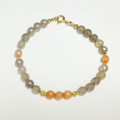 Peach Gray Bracelet Gold Vermeil Jewelry Coral by jewelrybycarmal, $42.00
